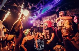 crowd at cirque on halloween
